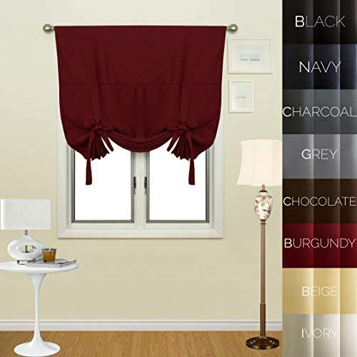 Prestige Home Fashion Thermal Insulated Blackout Tie-Up Window Shade - Rod Pocket - Burgundy - 42