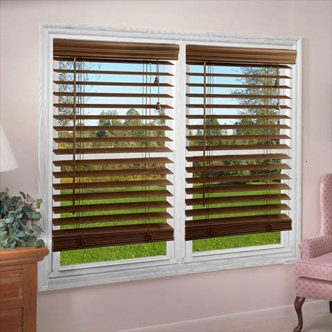 DEZ Furnishing QADO700360 2 in. Faux Wood Blind, Dark Oak - 70 W x 36 L in.