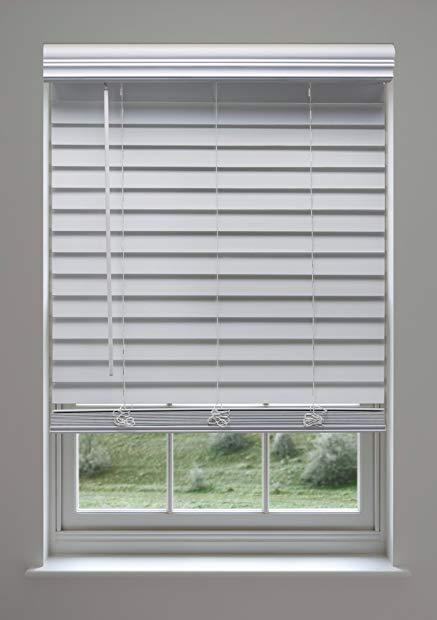 Linen Avenue Custom Cordless Faux Wood Blind White 35 1 4