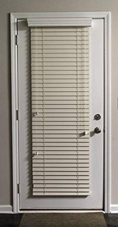 Delta Blinds Supply Custom-Made, Faux Wood Horizontal Window Blinds for Doors, Alabaster (Cream/Ivory,) 2 Inch Slats, Outside Mount