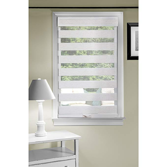 Cordless Serenity Sheer Double Layered Zebra Shade Horizontal Cordless Window Shade Blind Roller Blinds & Treatments (31x72, Linen)