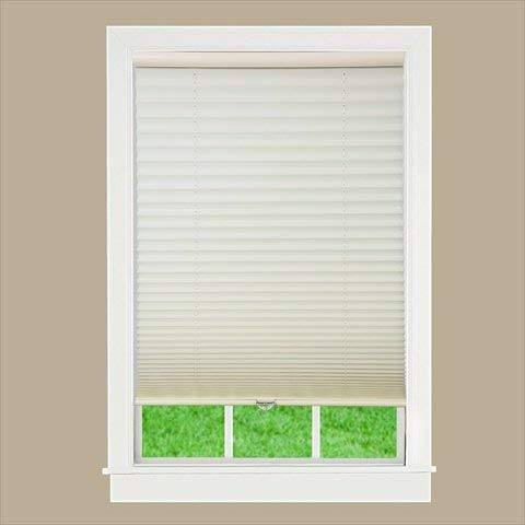 DEZ Furnishing QDER450640 Cordless Pleated Light Filtering Shade, Ecru - 45 W x 64 L in.