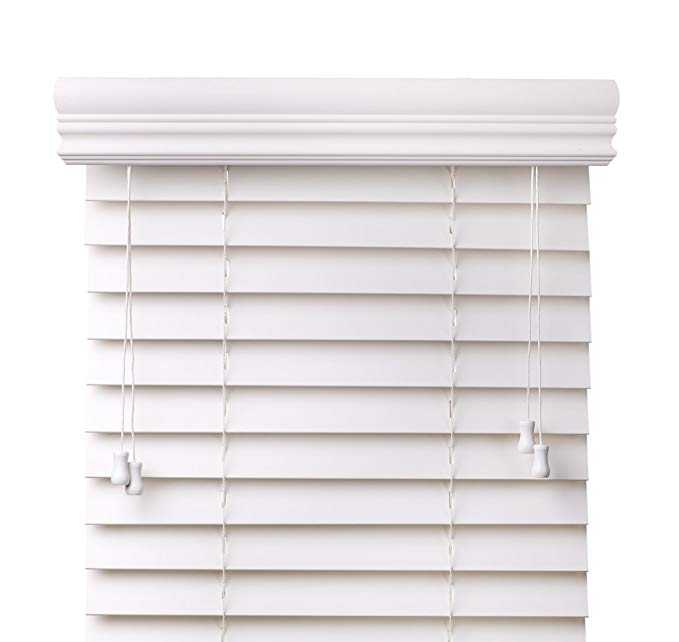 Premium 2 inch faux wood blinds, Snow White, 57 5/8 x 60