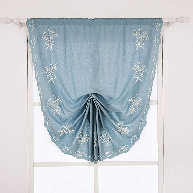 ZHH 47 Inch By 92 Inch Hollow-out Handmade Embroidered Flowers Cotton Tie-Up Roman Shade Curtain, Blue
