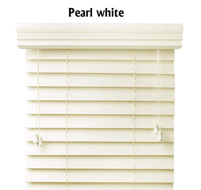 Premium 2 inch faux wood blinds, Pearl White, 63 x 60