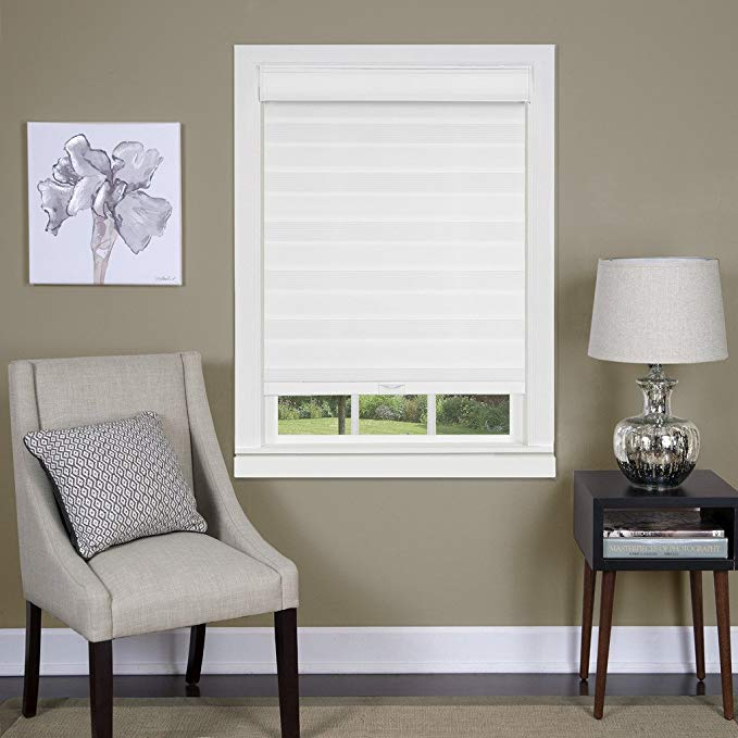 Cordless Celestial Sheer Double Layered Shade 27x72 - White
