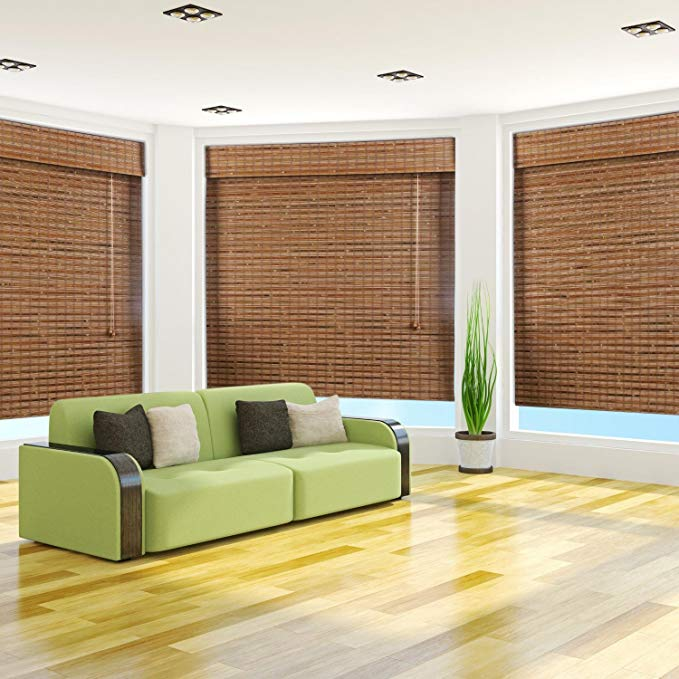 Arlo Blinds Dali Native Light Filtering Bamboo Roman Shade with Valance - Size: 58