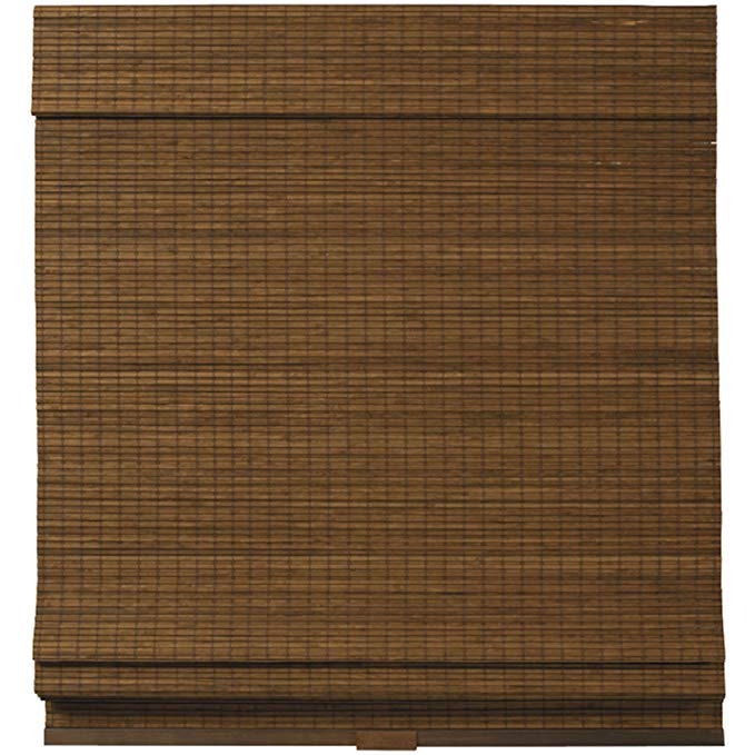 Cordless Woven Wood Bamboo Roman Shade Brown (39x64)