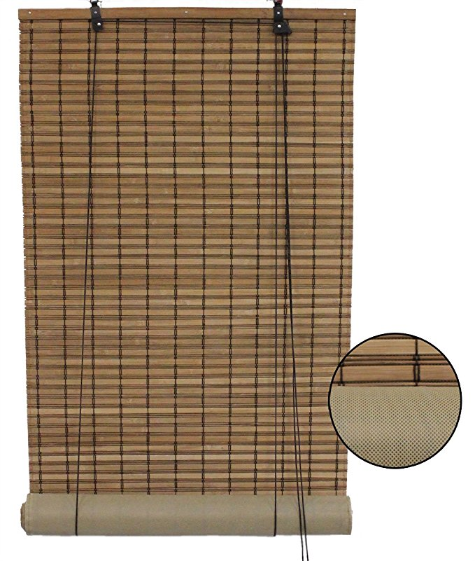 Seta Direct Brown Bamboo Slat Roll Up Blind with Privacy Backer Liner - 60-Inch By 72-Inch