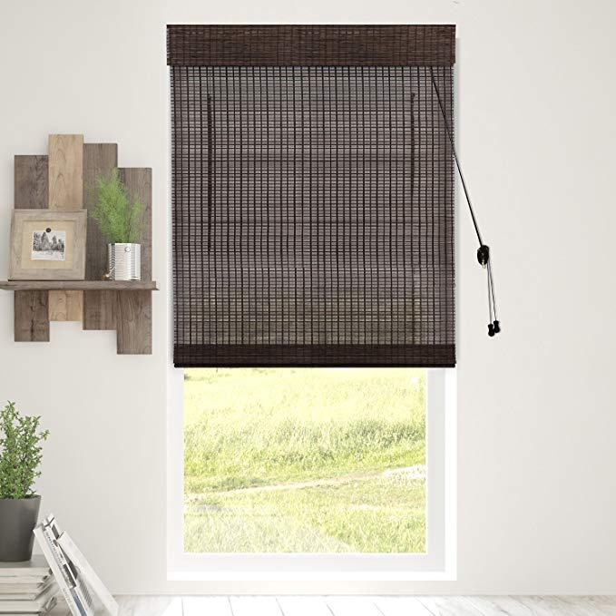 Chicology Bamboo Roman Shades / Wood Window Blind, Bamboo, Privacy - Treehouse, 35