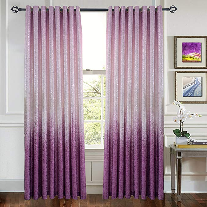 Anady Top Purple/Pink Curtains Tree Forest Drapes 2 Panels Grommet Drapes Silvery Shiny Curtains for Living Room 84 Inch Long