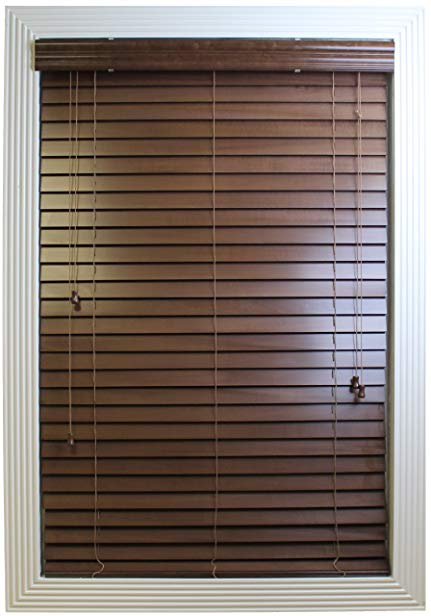 Calyx Interiors Real Wood Venetian Blind, 35-Inch Width by 60-Inch Height, Pecan
